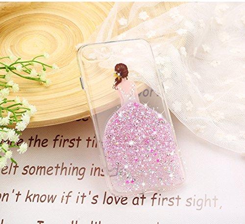 Vandot Transparent Soft Coque Parfait Fit pour iPhone 7 (4.7 pouces) Etui Brillant Scintillant Cristal Glitter Diamant strass Housse TPU Silicone Extra Slim Parfait Fit pour iPhone 7 Case Cover-Jupe S