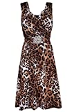 Click Selfie New Womens Plus Size Knee Length Iris Animal Print Buckle Maxi Dress Leopard Print 2XL