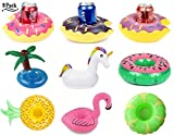 Unicorn Float Flamingo Drink Holders Donut Fruit Inflatable Pool Cup Holders, Floats Boats Pool Floats Inflatable Floating Coasters for Pool Party Water Fun (Multi 9 Pack)