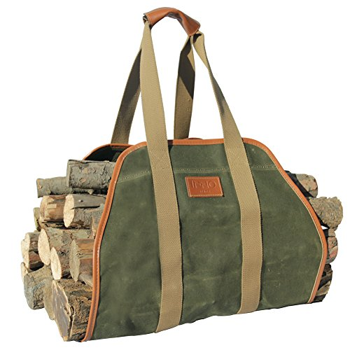 "INNO STAGE Waxed Canvas Log Carrier Tote Bag,40""X19"" Firewood Holder,Fireplace Wood Stove Accessories"
