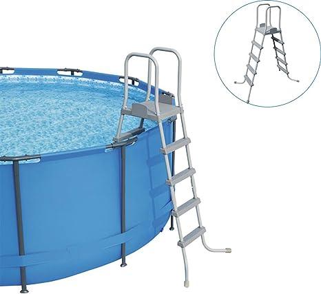 Mnjin Escalera de Piscina doméstica, Escalera de Piscina de 4 peldaños para Piscina de 132 cm, Robusto Marco de Acero Tubular, Adecuado para Casi Todas Las Piscinas elevadas: Amazon.es: Deportes y aire