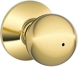 Schlage F40ORB605 PB Orbit Privacy KNOB BX, Bright Brass