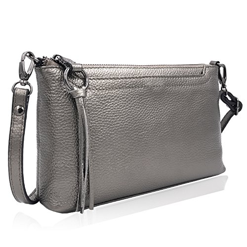 Metallic Pebbled Leather Crossbody Bags Pewter Clutch Purse Handbags Wallet Wristlet for Teens Dexmay (Pewter)