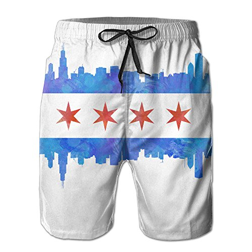 Chicago State Flag Retro Quick Dry Men's Household Beach Shorts Pants - Mens Chicago Flag Shorts