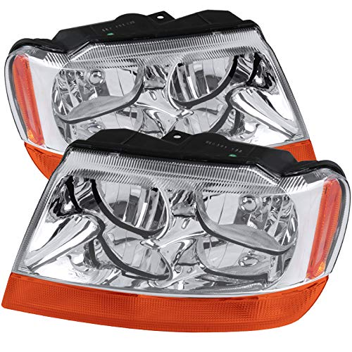 CARPARTSINNOVATE For Jeep 99-04 Grand Cherokee Clear Headlights Amber Turn Signal Lamps Headlamps
