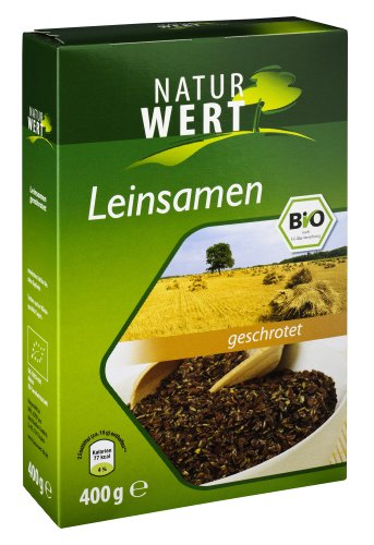 Naturwert Bio Leinsamen geschrotet , 8er Pack (8 x 400 g) - Bio