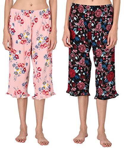 VDRNY Woman's Cropped Pajama Pants Set/Women's Capri - PJs - Sleepwear (Pack of 2) (Pink Floral Set, L)