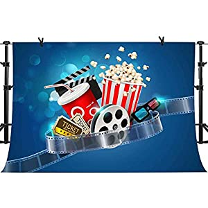 PHMOJEN Movie Theme Backdrop for Photography Videotape Cola Ticket Popcorn Background 10x7ft Vinyl Theme Party Photo Backdrop Studio Props LXPH416