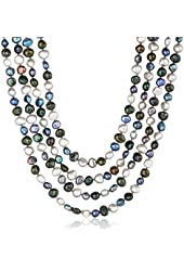 6-7mm Colored Baroque Freshwater Cultured Pearl Knotted Endless Necklace, 100""
