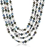 6-7mm Dyed Black Multi-Colored Baroque Freshwater Cultured Pearl Knotted Endless Necklace, 100''