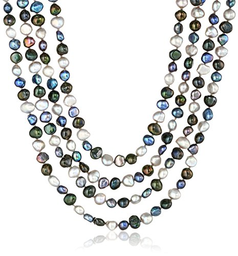 6-7mm Dyed Black Multi-Colored Baroque Freshwater Cultured Pearl Knotted Endless Necklace, 100""