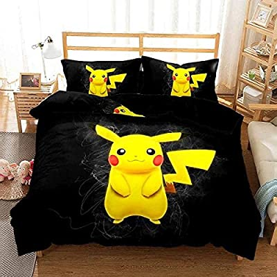 Nais New Pikachu Anime Duvet Cover Set Twin Full Queen King Bed Linen Set Janpanese Game Character Cartoon Bedding Set 3PCS for Kids (Color-4,Queen): Home & Kitchen