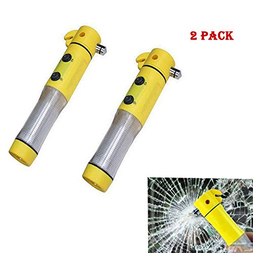5 in 1 Window Breaker Tool,Seat Belt Cutter,Flashing Emergency Beacon Light,LED Flashlight Auto Safety Emergency Escape with Powerful Magnetic Base Car Safety Tool Survical Tool (2 pack)