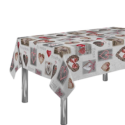 60x 95-Inch Rectangular Tablecloth White Love Heart Dreams Valentine, Stain Resistant, Washable, Liquid Spills bead up, Seat 8 to 10 People (Other Size: 63, 60x80, 60x120)