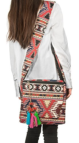 Tribe Azure Woven Canvas Messenger Crossbody Aztec Shoulder Bag Travel Handbag Casual Red Sling Boho - Jacquard Hobo Style Bag