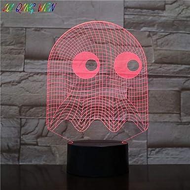 Juego de arcade Pac Man Blinky Ghost 3D LED Lámpara de mesa Regalo para niños Luz de noche Novedad Luz de noche Niño Niño Luz de noche: Amazon.es: Iluminación