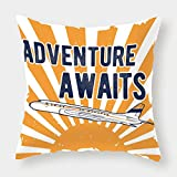 iPrint Cotton Linen Throw Pillow Cushion Cover,Adventure,Commercial Airplane with Rising Sun Adventure Quote Aviation Journey Print Decorative,Navy Blue Orange,Decorative Square Accent Pillow Case