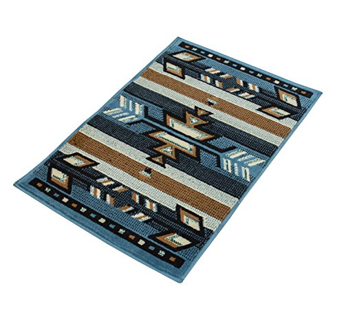 Rugs 4 Less Rustic Western Navajo Southwest Native American Indian Area Rug Design R4L SW1 Light Blue (2'x3')