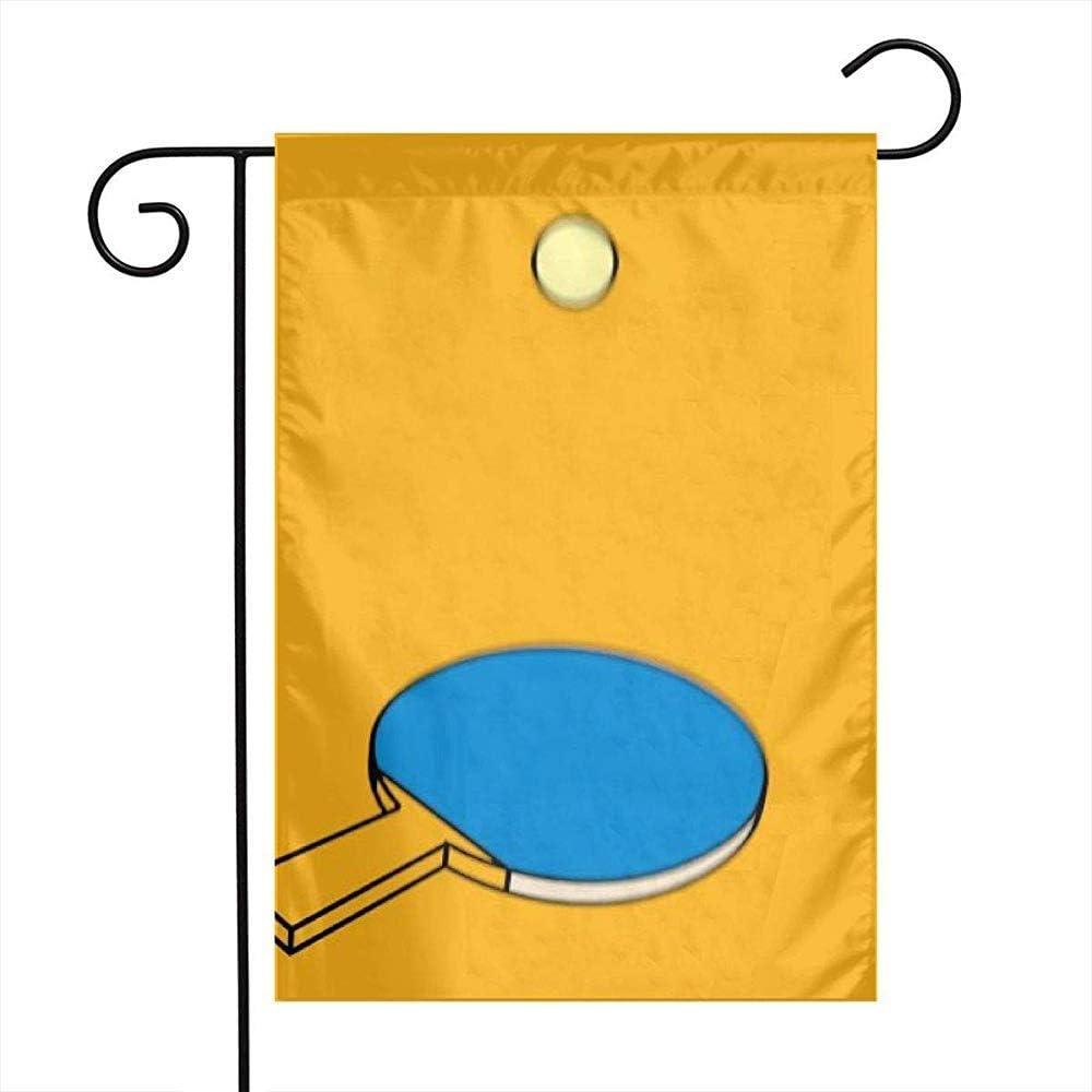 qinzuisp Bandera del Jardin Ping Pong Paddle Golpear Banderas De Jardín Hogar Interior Al Aire Libre Bienvenido Familia Decoraciones Doble Cara Patio Decorativo Juego Fiesta Banner