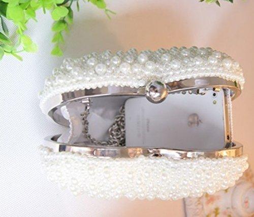 GSHGA à Pour à Fashion Bag White Pochette White Femme Pearl Main Main Nuptiale Sac Love Sac rFPrqY