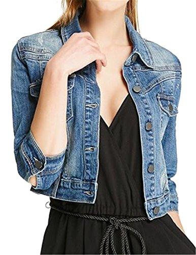 Pivaconis Women's Button Down 3/4 Sleeve Distressed Short Crop Denim Jacket Jean Coat Denim Blue L by Pivaconis