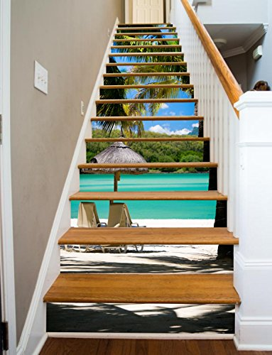 "Paradise Painted Stairway Decoration Adhesive Vinyl Stair Riser Panels Easy To Install and Removable (15, 37"")"