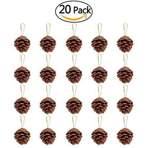 NICEXMAS 20pcs 46cm Christmas Pine Cones Pendant With String Natural Wood Christmas Tree Decoration Crafts Home Ornament