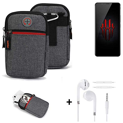 K-S-Trade Belt Bag + Earphones Compatible With Nubia Red Magic Mobile Phone Bag Holster Protective Cover Grey Additional…