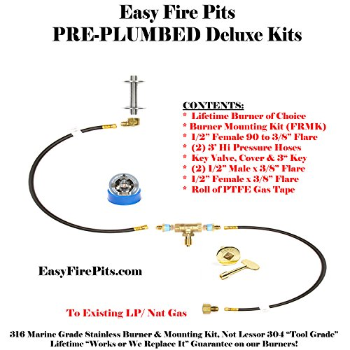 - K++ Complete Deluxe Natural Gas AND/ OR Propane/ LP Universal Pre-Plumbed Fire Pit/ Fire Table Connection Kit (without burner)
