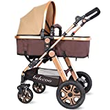 Newborn Baby Stroller for Infant and Toddler 2 in 1 Foldable Buggy Pushchair - Convertible Bassinet Stroller Compact Single Baby...