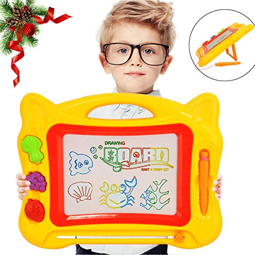 (Kids Magnetic Drawing Board Doodle with Stand, Drawing Board Toy with 3 Shape Stamps and Sticker for Toddler, Magnetic Drawing Board for Boy Girl Painting Learning Birthday-Gift (Yellow))