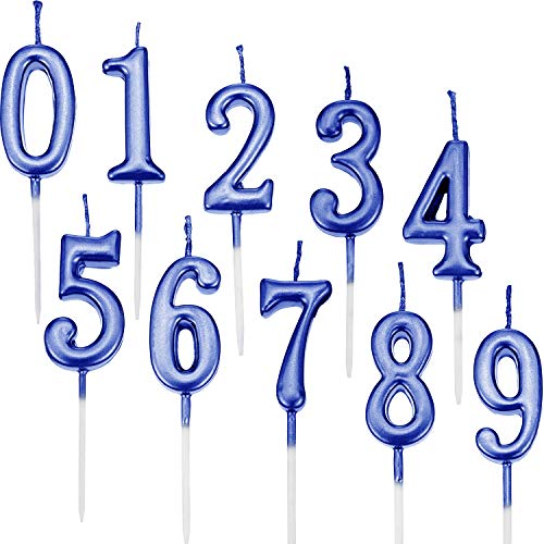 - Yaomiao 10 Pieces Birthday Numeral Candles Cake Numeral Candles Number 0-9 Glitter Cake Topper Decoration for Birthday Party Favor (Blue)