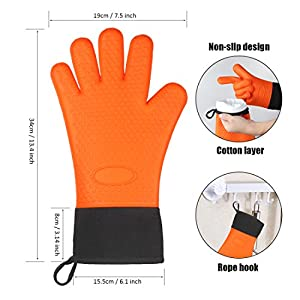 BFOX BBQ Protective Oven Mitts Best Versatile Heat Resistant Gloves for Grilling,Baking and Cooking (Orange)