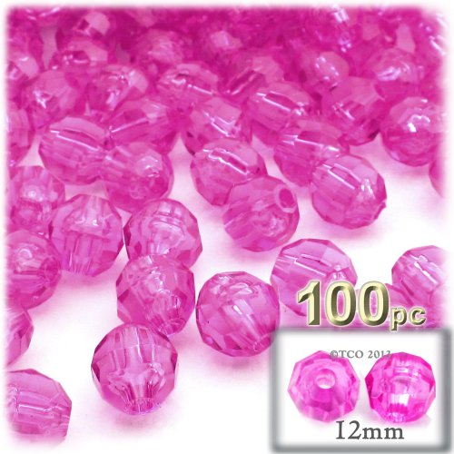 (The Crafts Outlet 100-Piece Faceted Plastic Transparent Round Beads, 12mm, Hot Pink)
