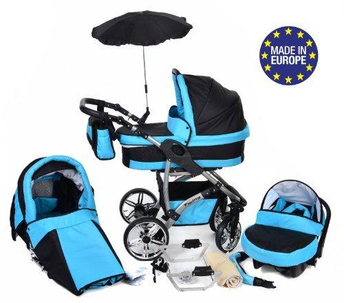 Twing - Sistema de viaje 3 en 1, silla de paseo, carrito con capazo y silla de coche, RUEDAS GIRATORIAS y accesorios (Sistema de viaje 3 en 1, negro, azul)