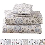 Home Fashion Designs Stratton Collection Extra Soft Printed 100% Turkish Cotton Flannel Sheet Set. Warm, Cozy, Lightweight, Luxury Winter Bed Sheets Brand. (Full, Snowflake)