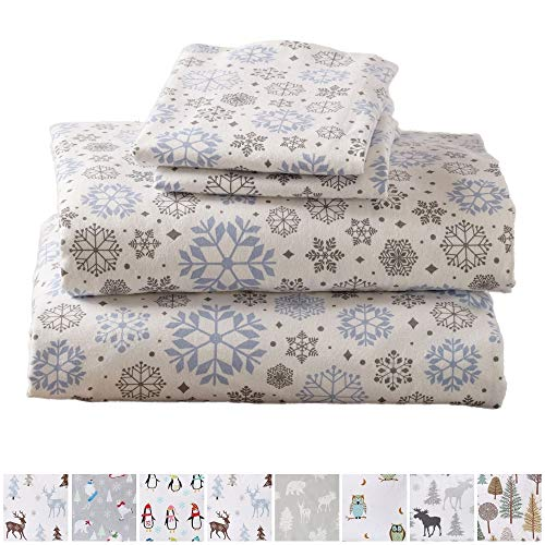 Home Fashion Designs Stratton Collection Extra Soft Printed 100% Turkish Cotton Flannel Sheet Set. Warm, Cozy, Lightweight, Luxury Winter Bed Sheets Brand. (Queen, Snowflake)