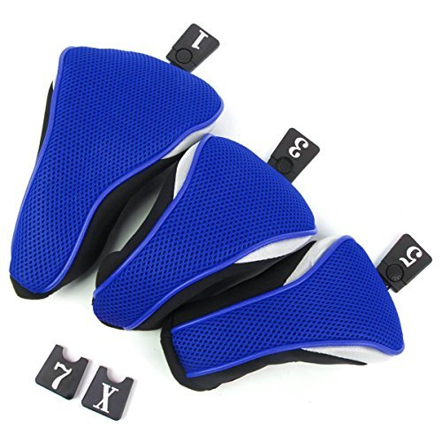 Vorcool 3pcs Washable Soft Strechy Golf Headcover Protective Cover Case Set No. 1 3 5 (Blue)