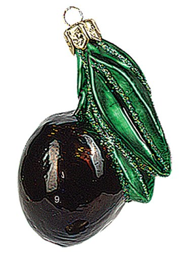 - Pinnacle Peak Trading Company Black Olive Polish Mouth Blown Glass Christmas Ornament Tree Decoration