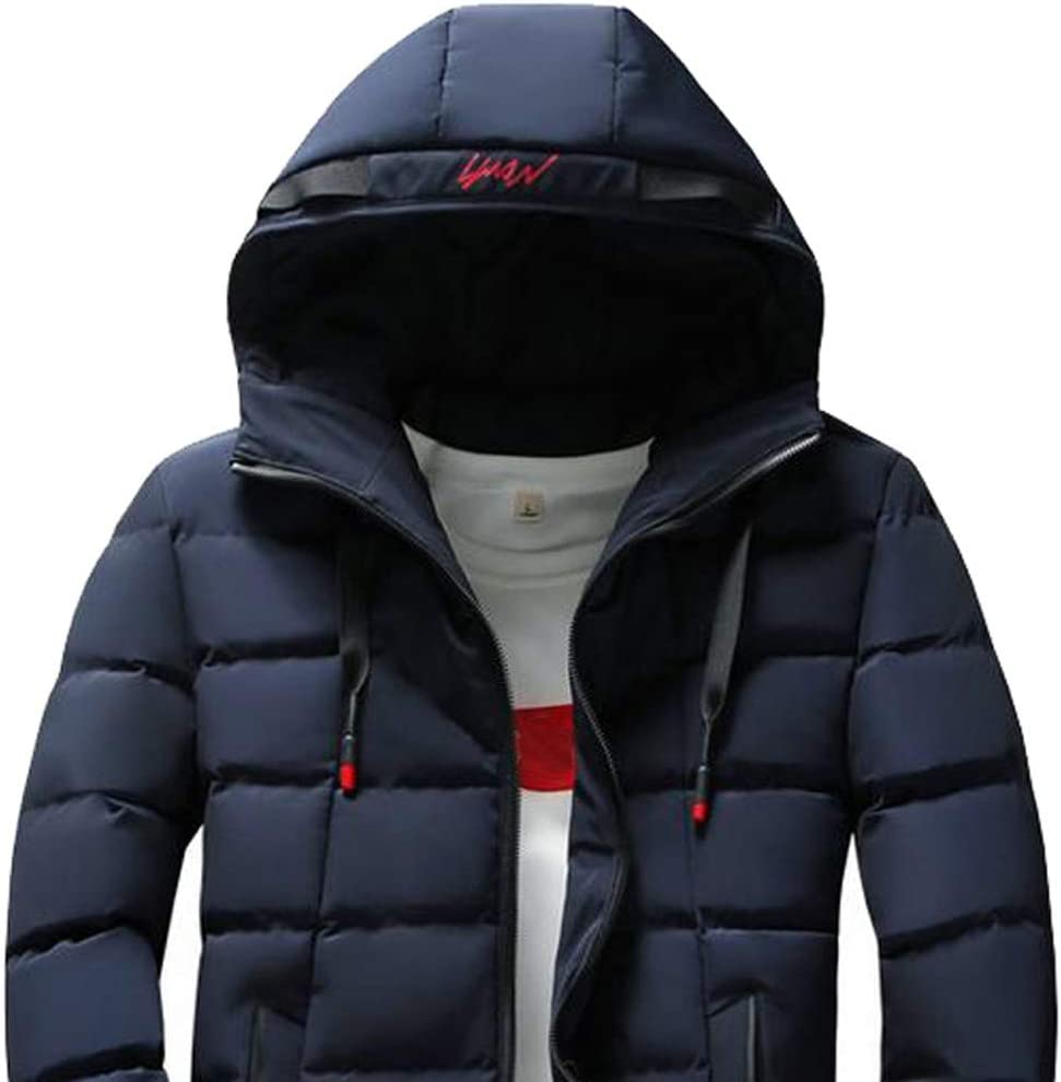 BAMan Men Lightweight Solid Color Quilted Zip Up Hooded Duck Down Jacket