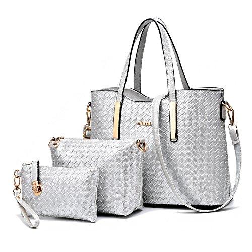 mode A Argent cuir à cuir pu 3pcs sac bandoulière sac sac femme Tibes sac à sac main qawtZZ