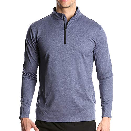 Fort Isle Men's Long Sleeve Half-Zip Pull Over Shirt - L - Blue - Quick Dry Performance for Running ()