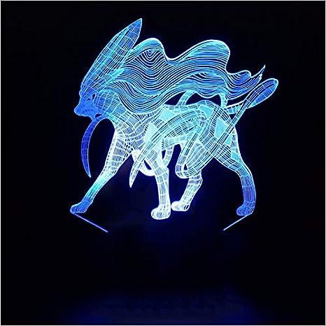 Ys753 innovativo 3d fata animale luce notturna sette colori led usb
