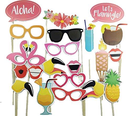 Hawaiian Luau Theme Pineapple Party Supplies, Pink Flamingo Photo Booth Props Kit - 21 Count ()
