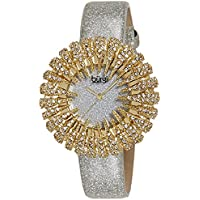 Burgi Women's BUR112YGW Crystal Accented Yellow Gold Quartz Watch with Silver Dial and Silver Bracelet