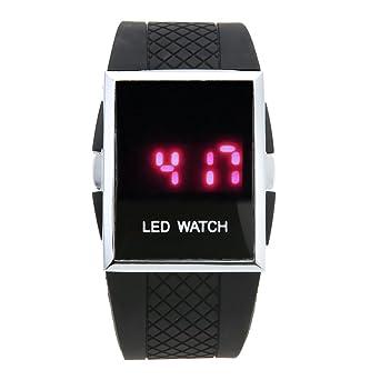 prosperveil Hombres Mujeres Casual Blanco Negro LED Reloj deportivo digital (Negro)