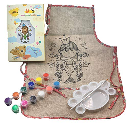 JabKab - Bokesi Kids Crafts DIY Kids Apron Coloring Kit - Arts and Crafts for Kids and Toddlers - Kids Art Smock with Pockets - Cute Play Kitchen Dress Up Clothes for Little Girls and Boys (Mermaid) ()