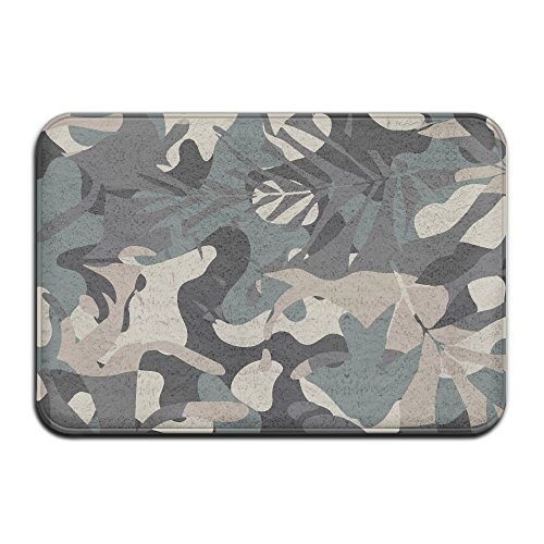 NEW HATS Monstera Leaf Camouflage Taupe Charcoal Black Tropical Door Mats Outdoor Mats (Taupe Camo New)