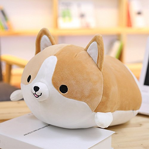 WDA 3D Akita Dog Decorative Throw Pillow Cartoon Plush Pillow Funny Gift Animal Stuffed Toys (Brown, 60CM) - Akita Inu Dog