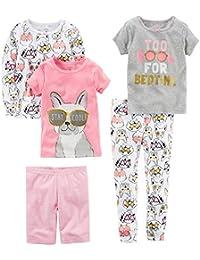 Baby Girls' 5-Piece Cotton Snug-fit Pajamas